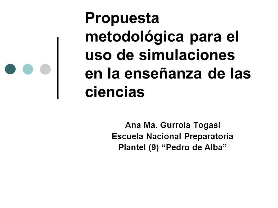 Propuesta metodológica para el uso de simulaciones en la enseñanza de las ciencias Ana Ma. Gurrola Togasi Escuela Nacional Preparatoria Plantel (9) Pe