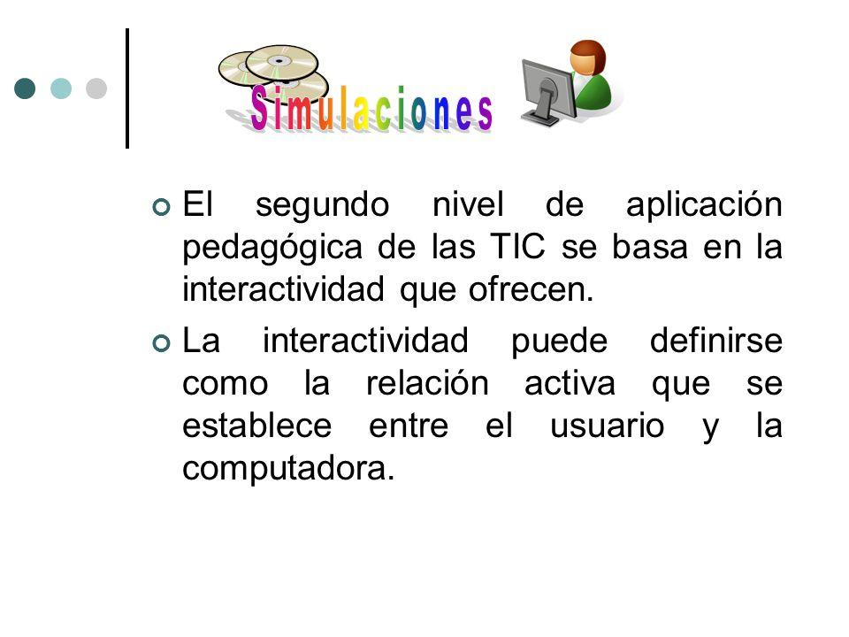 El segundo nivel de aplicación pedagógica de las TIC se basa en la interactividad que ofrecen. La interactividad puede definirse como la relación acti