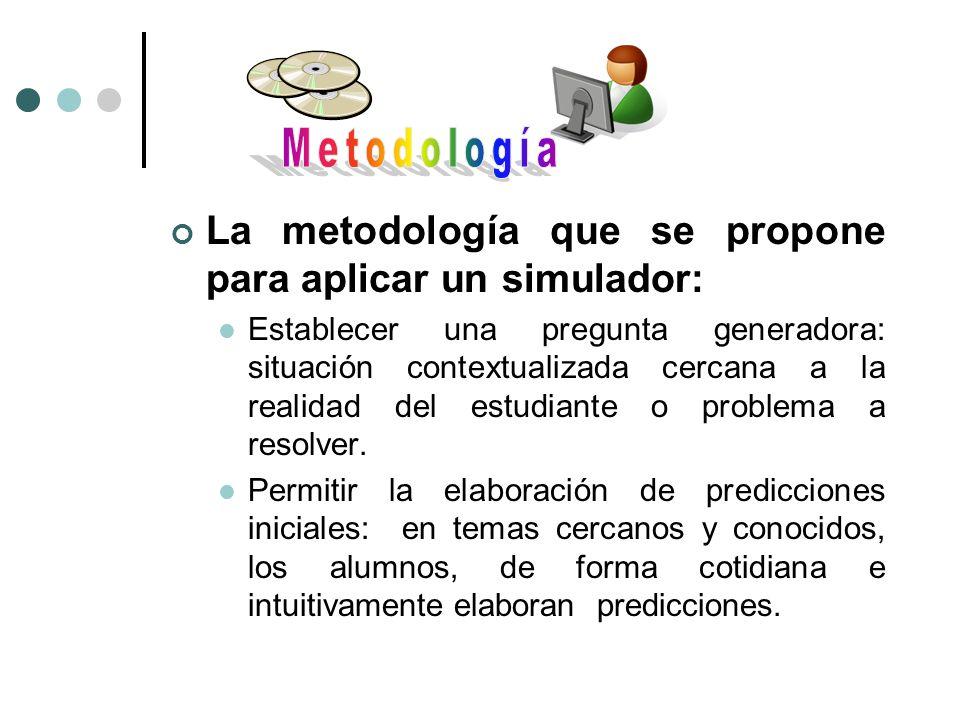 La metodología que se propone para aplicar un simulador: Establecer una pregunta generadora: situación contextualizada cercana a la realidad del estud