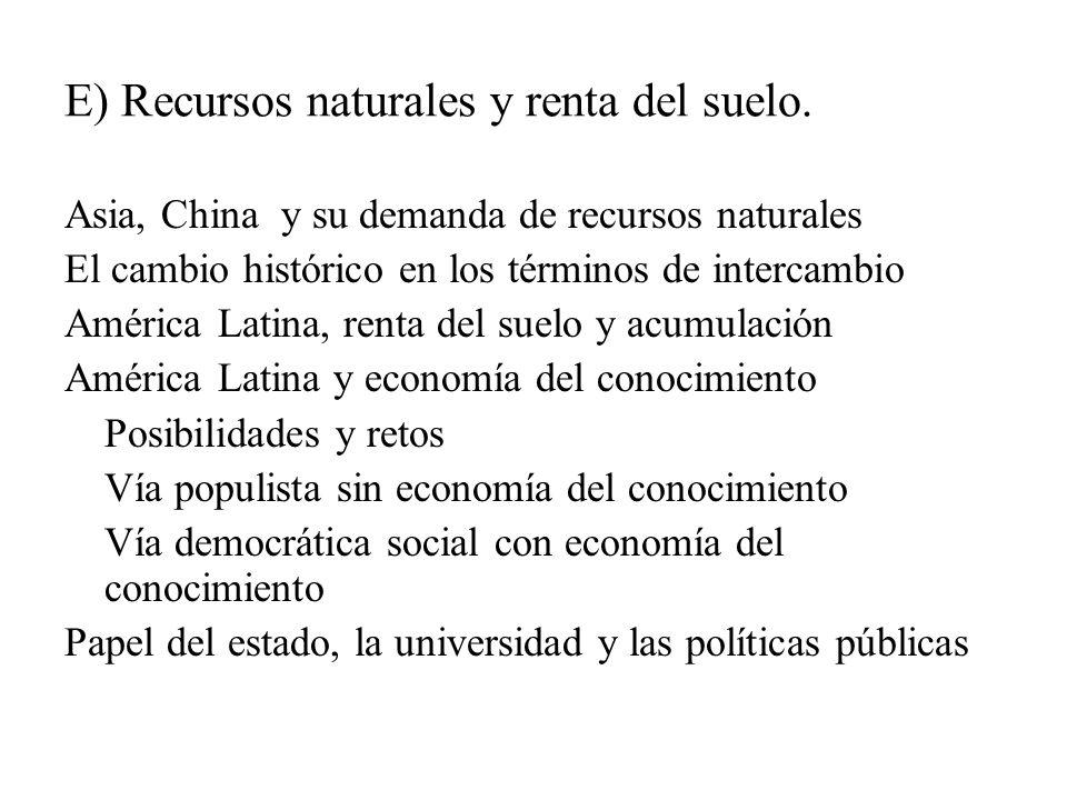 E) Recursos naturales y renta del suelo.