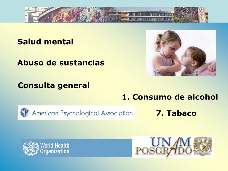 Uso de sustancias (9.2%) Medina-Mora et al., 2003 Trastornos de conducta (6.1%), Dependencia al alcohol (5.9%),