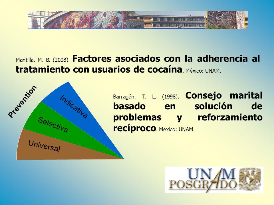 Selectiva Indicativa Universal Prevention Barragán, T. L. (1998). Consejo marital basado en solución de problemas y reforzamiento recíproco. México: U