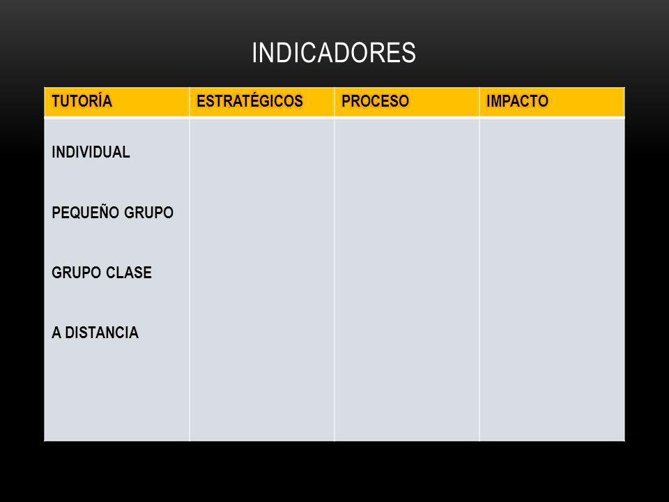 INDICADORES INDIVIDUAL PEQUEÑO GRUPO GRUPO CLASE A DISTANCIA