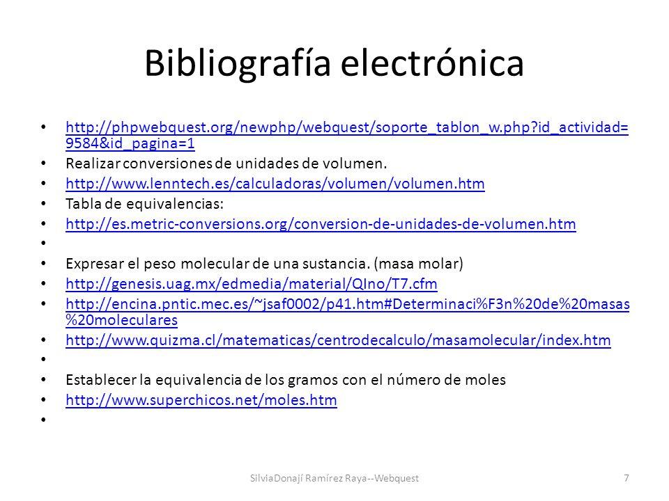 Bibliografía electrónica Factores de conversión.