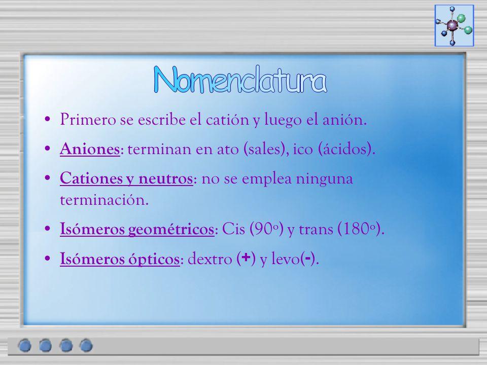 Primero se escribe el catión y luego el anión. Aniones : terminan en ato (sales), ico (ácidos). Cationes y neutros : no se emplea ninguna terminación.