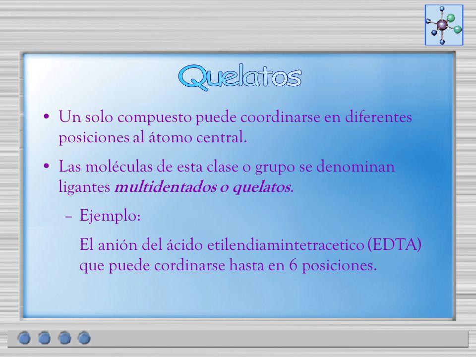 Un solo compuesto puede coordinarse en diferentes posiciones al átomo central. Las moléculas de esta clase o grupo se denominan ligantes multidentados