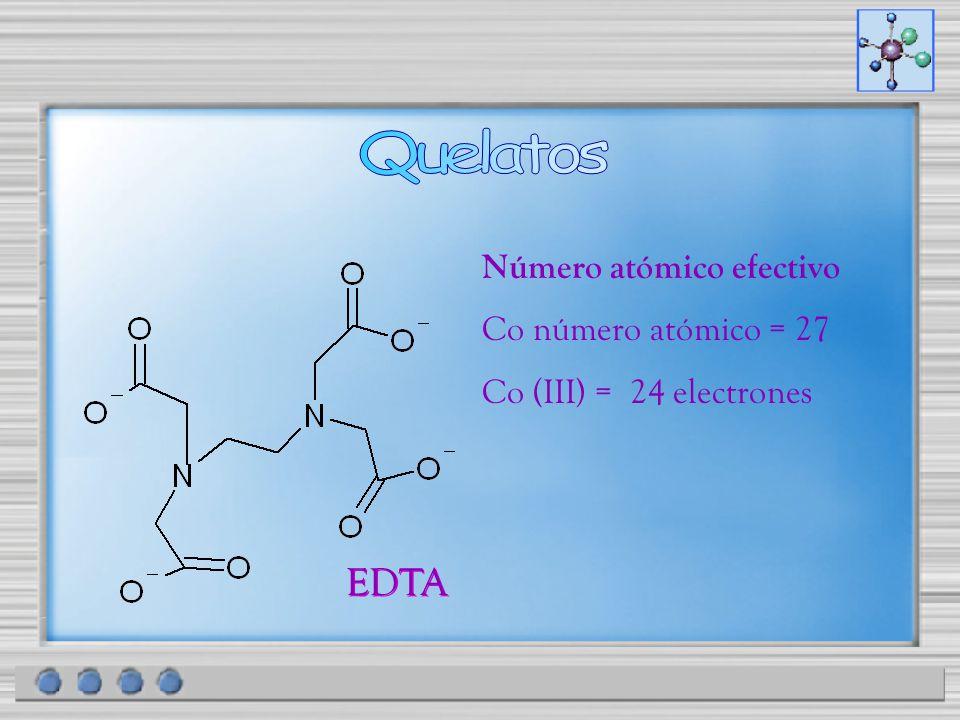 EDTA Número atómico efectivo Co número atómico = 27 Co (III) = 24 electrones