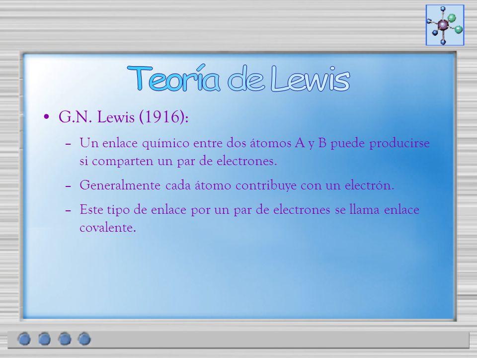 G.N. Lewis (1916): –Un enlace químico entre dos átomos A y B puede producirse si comparten un par de electrones. –Generalmente cada átomo contribuye c
