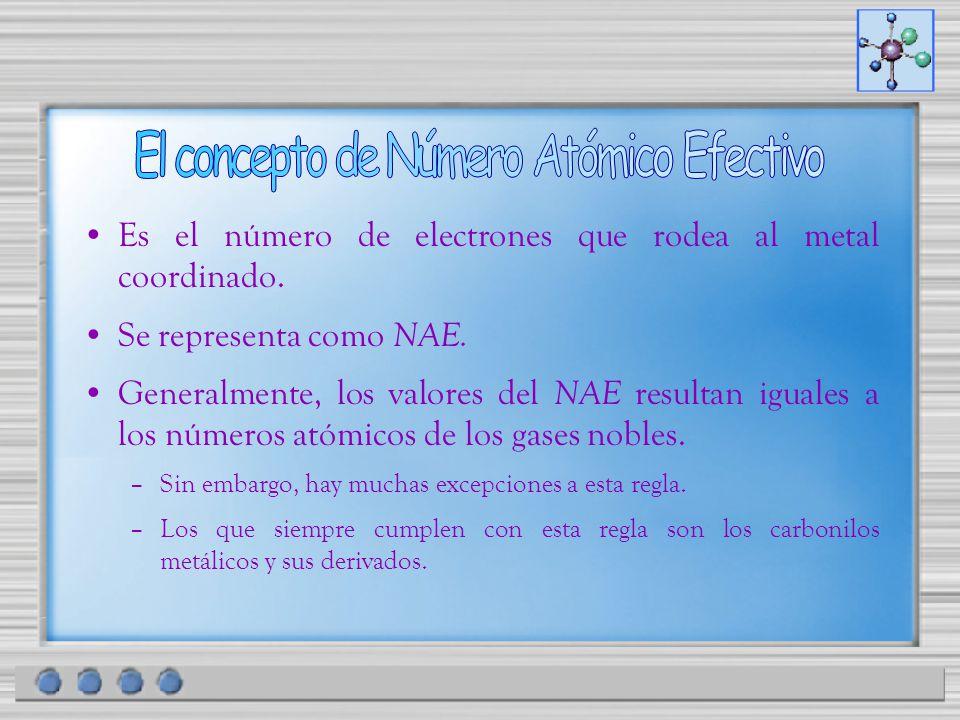 Es el número de electrones que rodea al metal coordinado. Se representa como NAE. Generalmente, los valores del NAE resultan iguales a los números ató