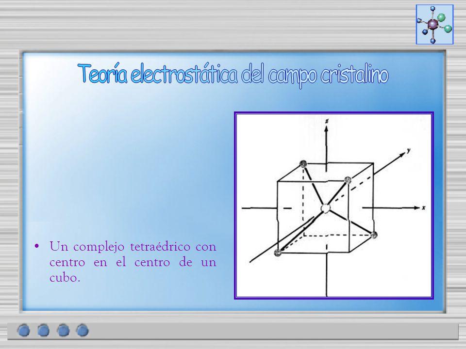 Un complejo tetraédrico con centro en el centro de un cubo.