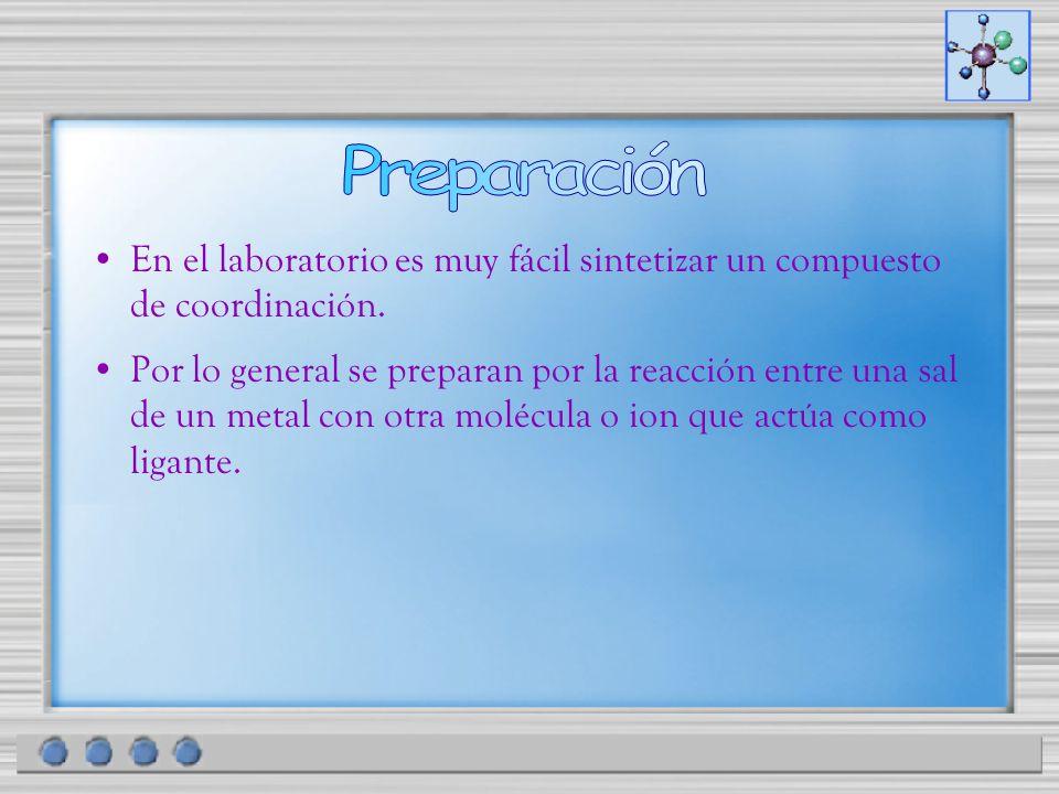 En el laboratorio es muy fácil sintetizar un compuesto de coordinación. Por lo general se preparan por la reacción entre una sal de un metal con otra