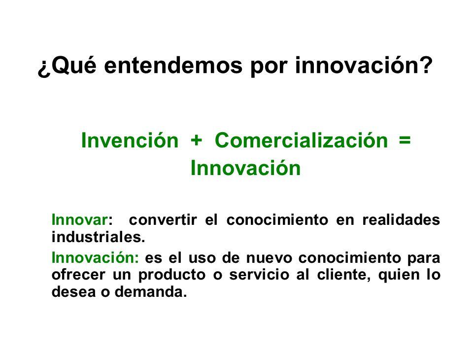 Invención + Comercialización = Innovación Innovar: convertir el conocimiento en realidades industriales. Innovación: es el uso de nuevo conocimiento p