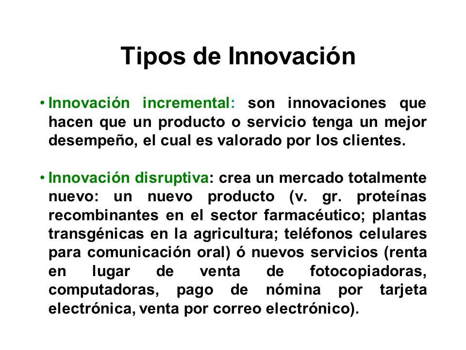Tipos de Innovación Innovación incremental: son innovaciones que hacen que un producto o servicio tenga un mejor desempeño, el cual es valorado por lo