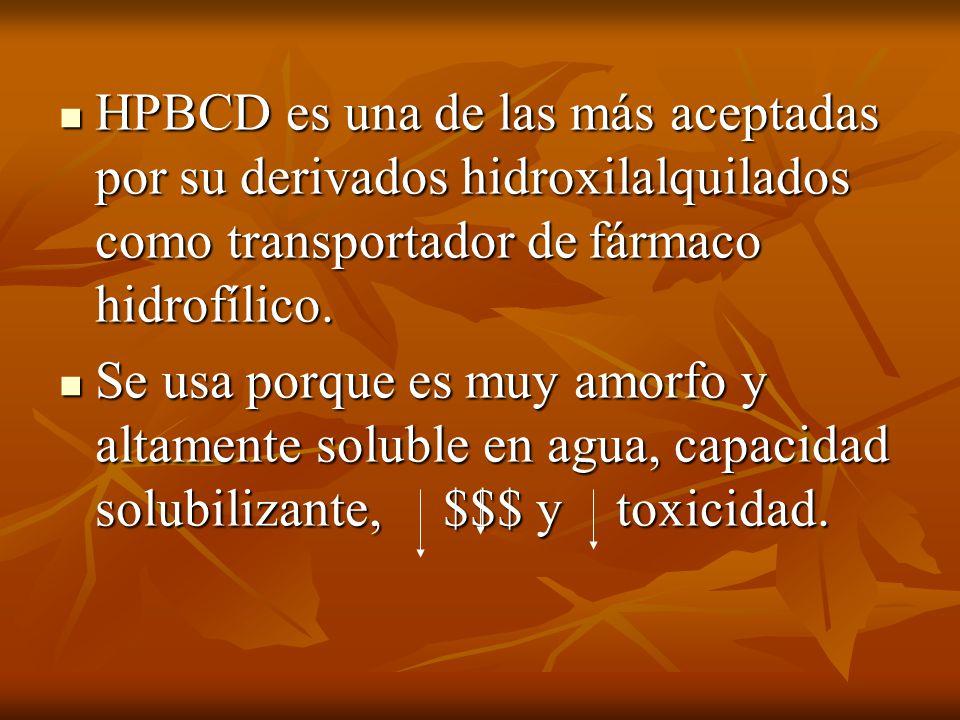 HPBCD es una de las más aceptadas por su derivados hidroxilalquilados como transportador de fármaco hidrofílico. HPBCD es una de las más aceptadas por