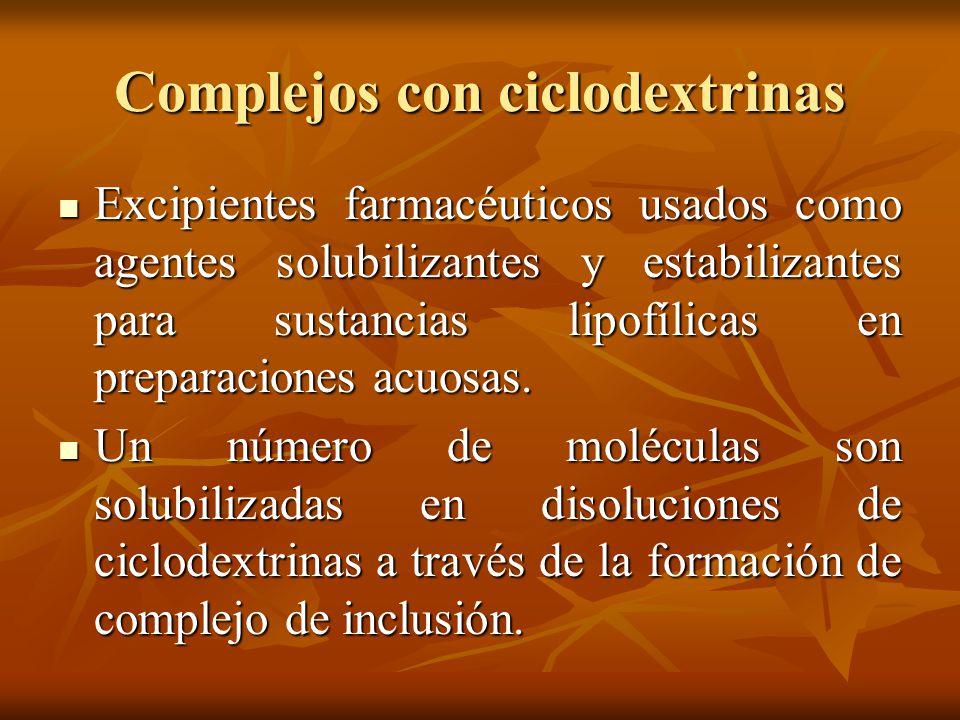 Complejos con ciclodextrinas Excipientes farmacéuticos usados como agentes solubilizantes y estabilizantes para sustancias lipofílicas en preparacione