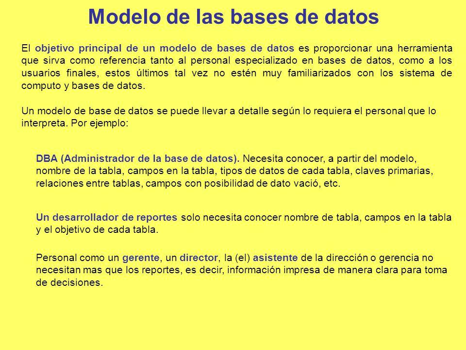 Modelo de las bases de datos El objetivo principal de un modelo de bases de datos es proporcionar una herramienta que sirva como referencia tanto al p