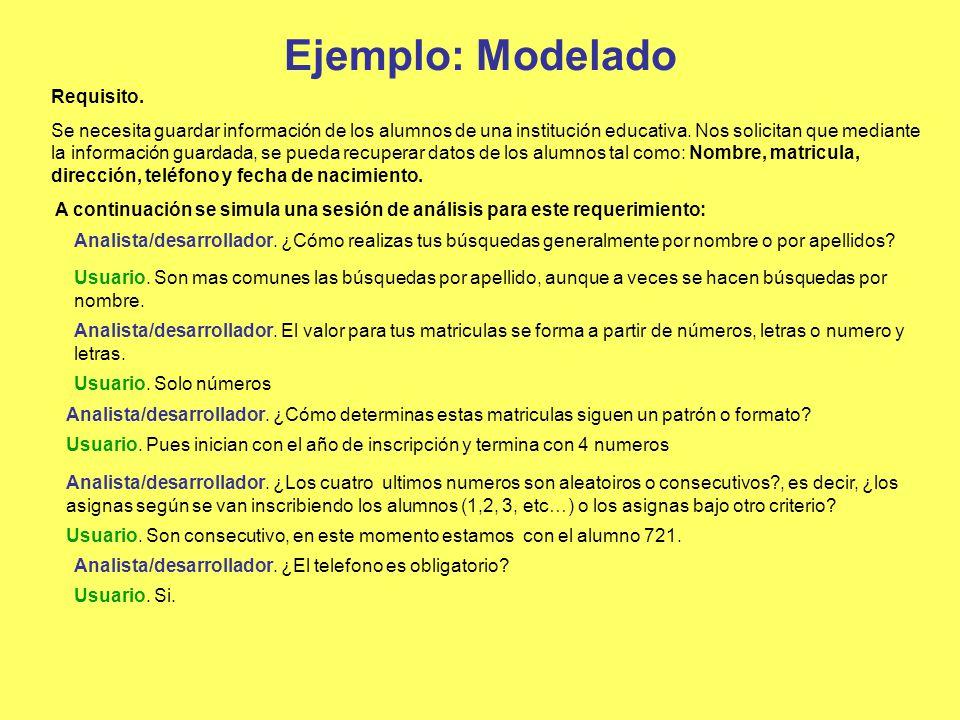 Ejemplo: Modelado Requisito. Se necesita guardar información de los alumnos de una institución educativa. Nos solicitan que mediante la información gu