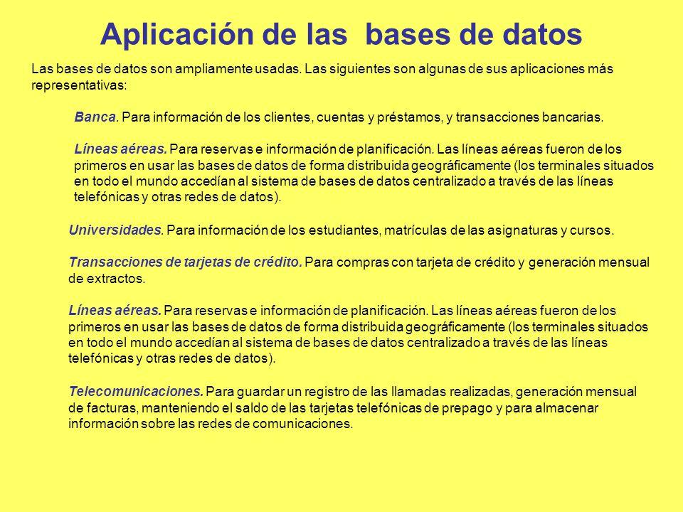 Aplicación de las bases de datos Las bases de datos son ampliamente usadas. Las siguientes son algunas de sus aplicaciones más representativas: Banca.
