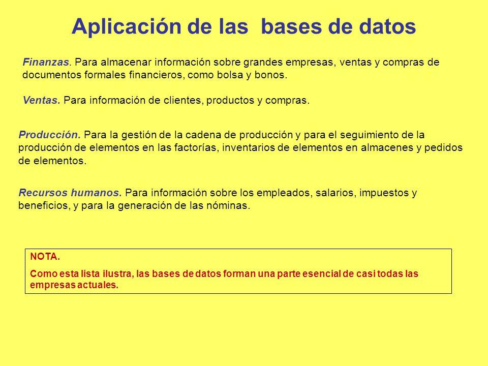 Aplicación de las bases de datos Finanzas. Para almacenar información sobre grandes empresas, ventas y compras de documentos formales financieros, com