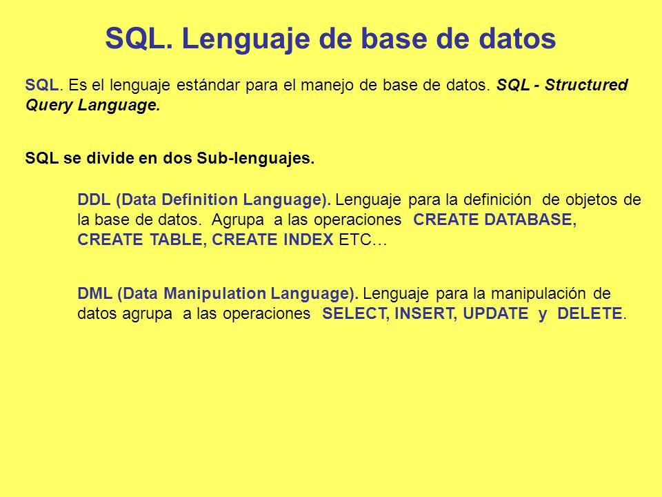 SQL. Lenguaje de base de datos SQL. Es el lenguaje estándar para el manejo de base de datos. SQL - Structured Query Language. SQL se divide en dos Sub