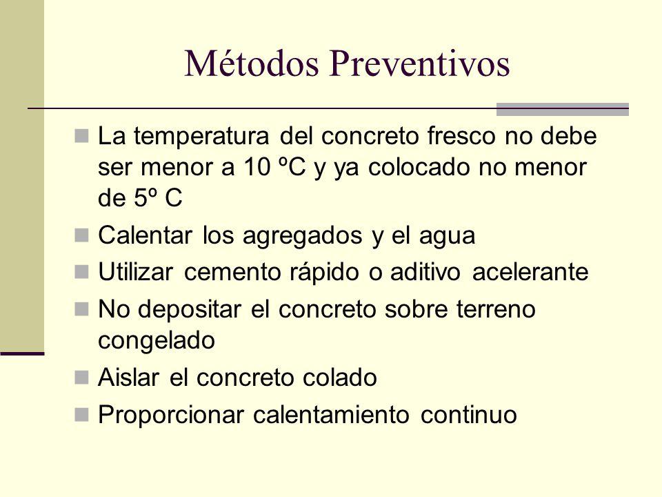 Métodos Preventivos La temperatura del concreto fresco no debe ser menor a 10 ºC y ya colocado no menor de 5º C Calentar los agregados y el agua Utili