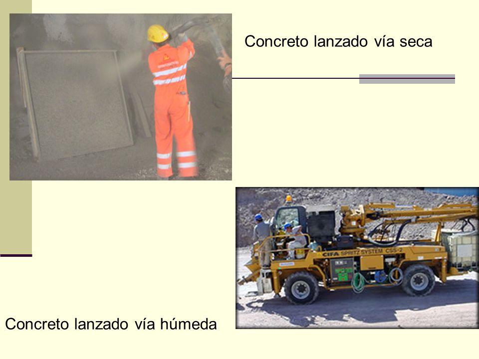 Concreto lanzado vía seca Concreto lanzado vía húmeda