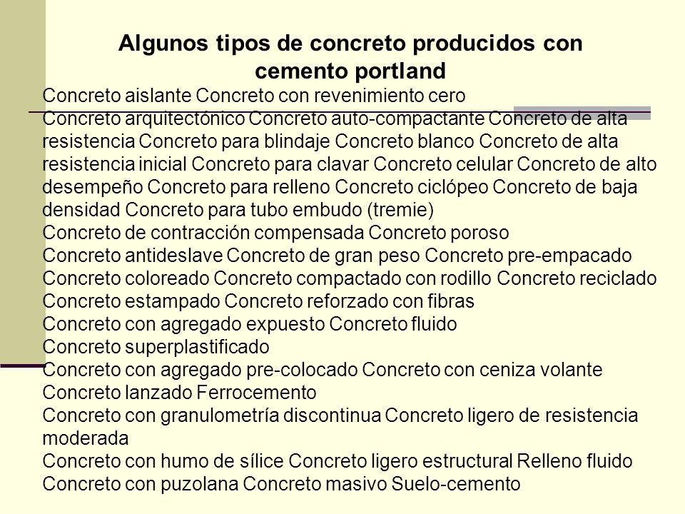 Algunos tipos de concreto producidos con cemento portland Concreto aislante Concreto con revenimiento cero Concreto arquitectónico Concreto auto-compa