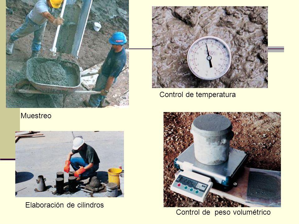 Muestreo Control de temperatura Elaboración de cilindros Control de peso volumétrico