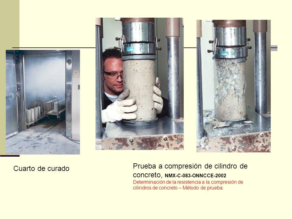 Cuarto de curado Prueba a compresión de cilindro de concreto, NMX-C-083-ONNCCE-2002 Determinación de la resistencia a la compresión de cilindros de co