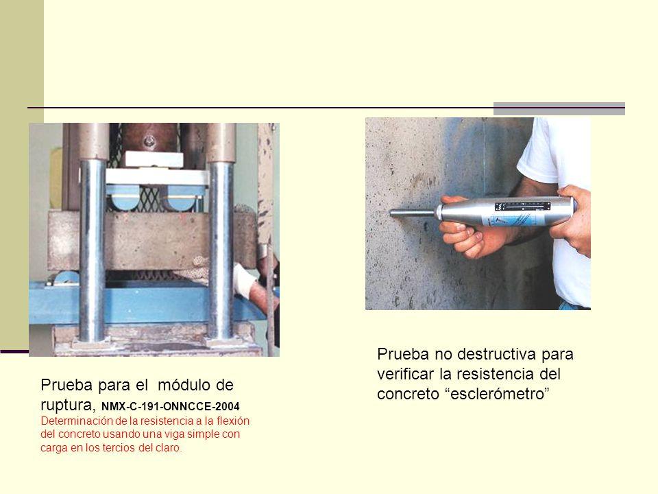 Prueba no destructiva para verificar la resistencia del concreto esclerómetro Prueba para el módulo de ruptura, NMX-C-191-ONNCCE-2004 Determinación de