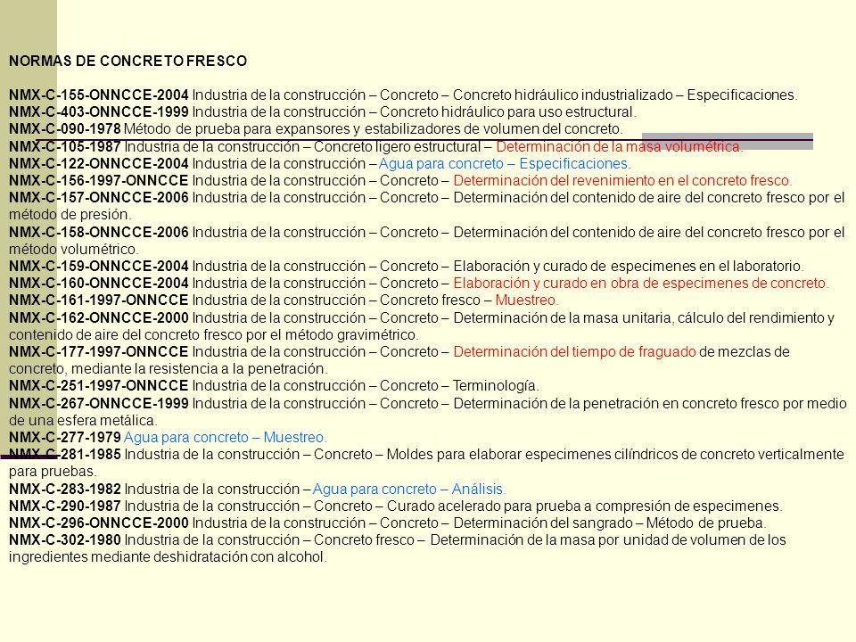 NORMAS DE CONCRETO FRESCO NMX-C-155-ONNCCE-2004 Industria de la construcción – Concreto – Concreto hidráulico industrializado – Especificaciones. NMX-