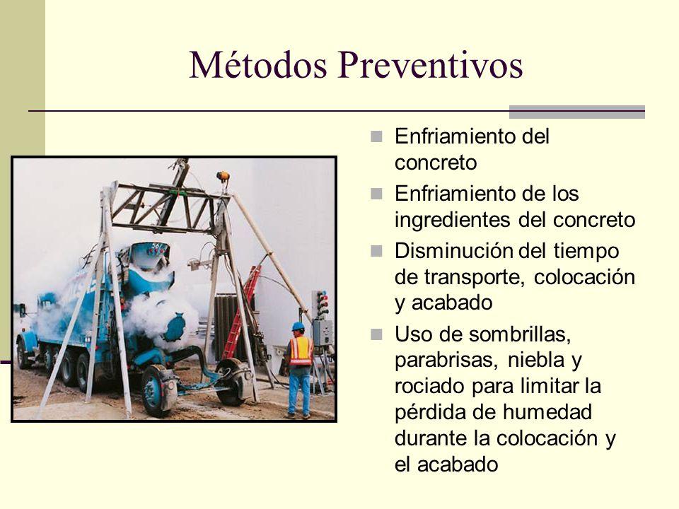Métodos Preventivos Enfriamiento del concreto Enfriamiento de los ingredientes del concreto Disminución del tiempo de transporte, colocación y acabado