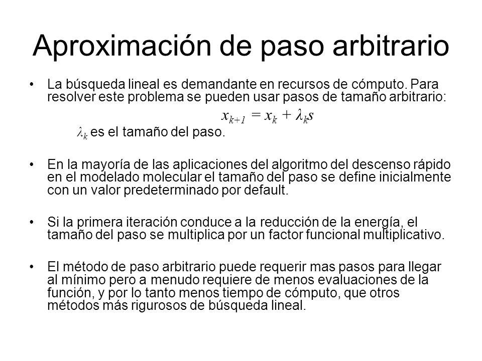 Aproximación de paso arbitrario La búsqueda lineal es demandante en recursos de cómputo. Para resolver este problema se pueden usar pasos de tamaño ar