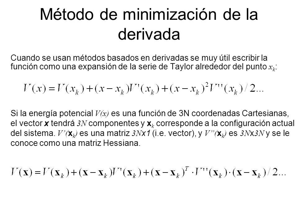 Método de minimización de la derivada Cuando se usan métodos basados en derivadas se muy útil escribir la función como una expansión de la serie de Ta