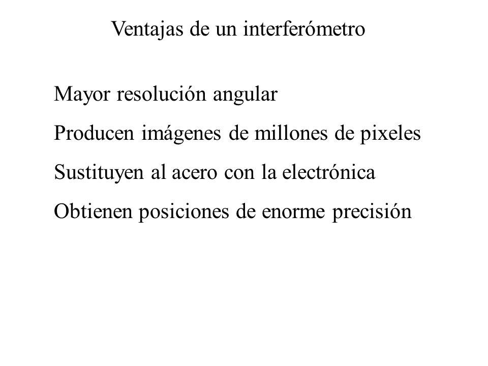 Ventajas de un interferómetro Mayor resolución angular Producen imágenes de millones de pixeles Sustituyen al acero con la electrónica Obtienen posiciones de enorme precisión