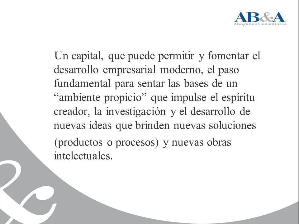 Un capital, que puede permitir y fomentar el desarrollo empresarial moderno, el paso fundamental para sentar las bases de un ambiente propicio que imp