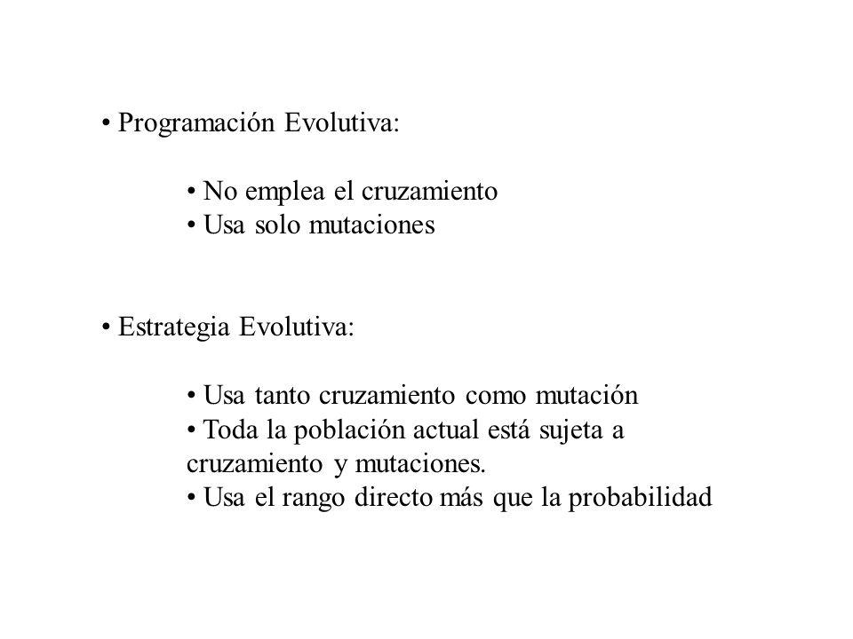 Programación Evolutiva: No emplea el cruzamiento Usa solo mutaciones Estrategia Evolutiva: Usa tanto cruzamiento como mutación Toda la población actua