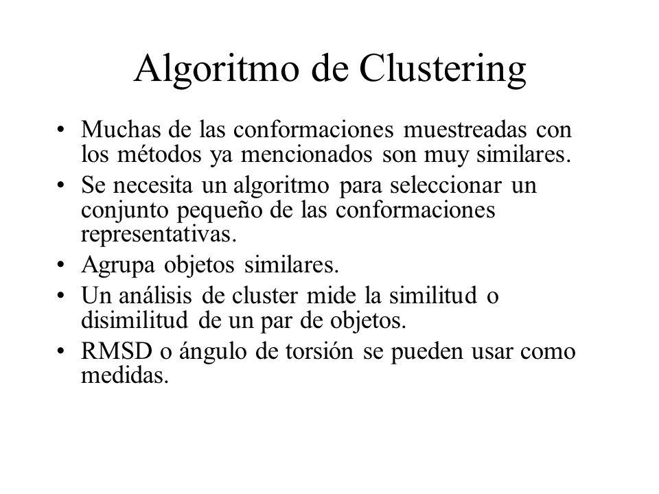 Algoritmo de Clustering Muchas de las conformaciones muestreadas con los métodos ya mencionados son muy similares. Se necesita un algoritmo para selec