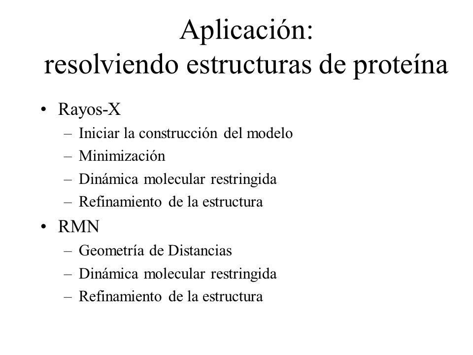 Aplicación: resolviendo estructuras de proteína Rayos-X –Iniciar la construcción del modelo –Minimización –Dinámica molecular restringida –Refinamient