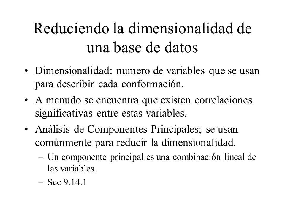 Reduciendo la dimensionalidad de una base de datos Dimensionalidad: numero de variables que se usan para describir cada conformación. A menudo se encu