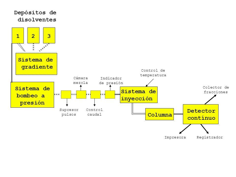 Sistema de bombeo a presión Sistema de inyección Columna Detector contínuo Depósitos de disolventes 123 Sistema de gradiente Supresor pulsos Cámara me