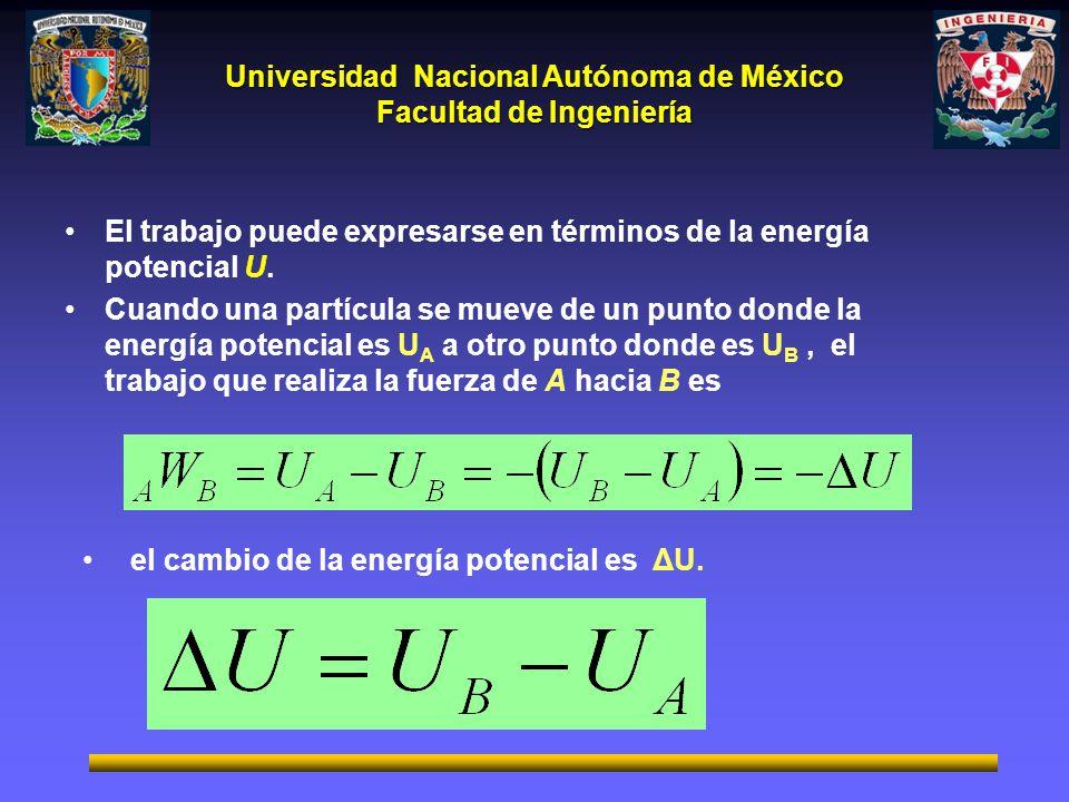 Universidad Nacional Autónoma de México Facultad de Ingeniería El trabajo puede expresarse en términos de la energía potencial U.