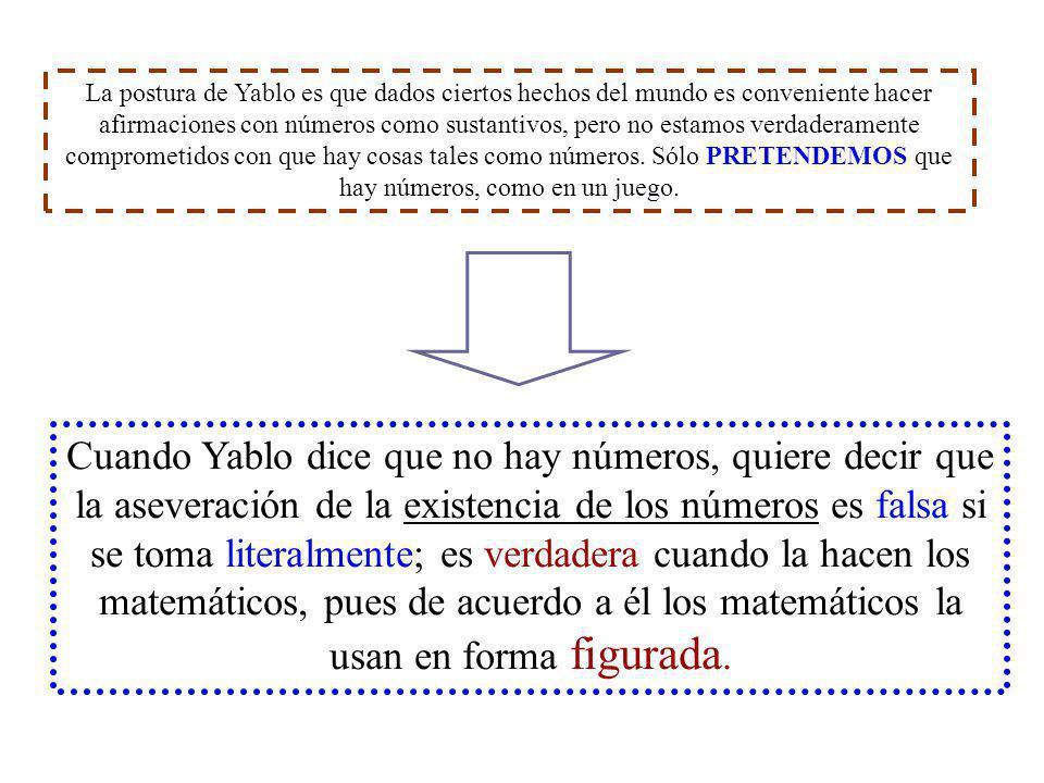La postura de Yablo es que dados ciertos hechos del mundo es conveniente hacer afirmaciones con números como sustantivos, pero no estamos verdaderamen