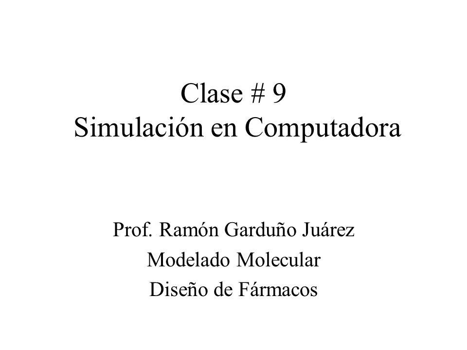 Simulación por computadora: Métodos Una simulación genera configuraciones representativas del sistema de tal forma que valores precisos de propiedades estructurales y termodinámicas se pueden obtener con un tiempo razonable de cómputo.