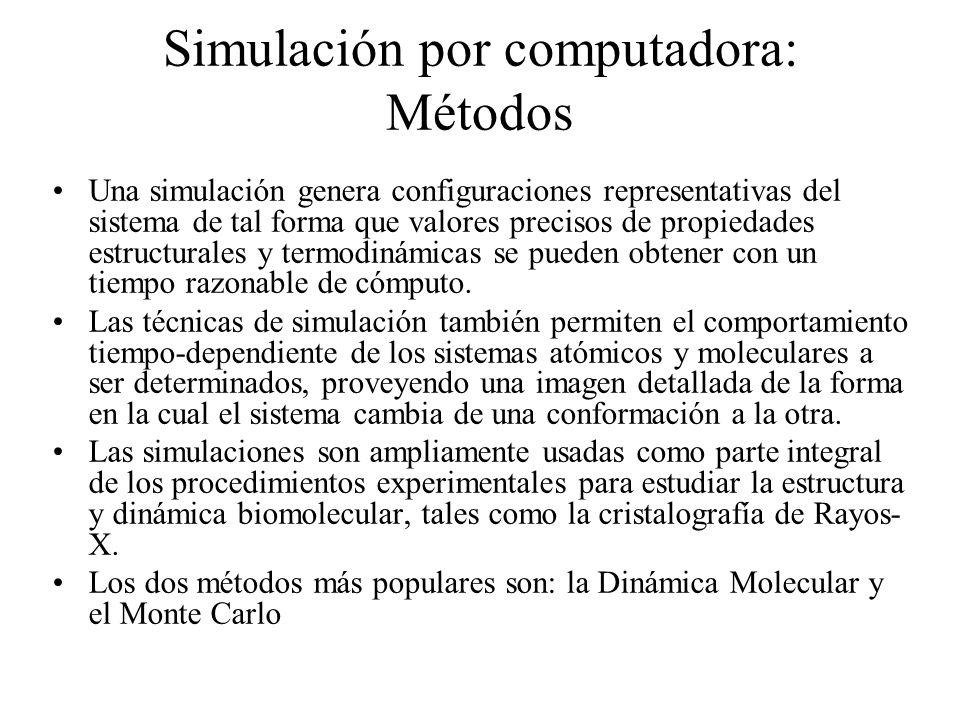 Simulación por computadora: Métodos Una simulación genera configuraciones representativas del sistema de tal forma que valores precisos de propiedades