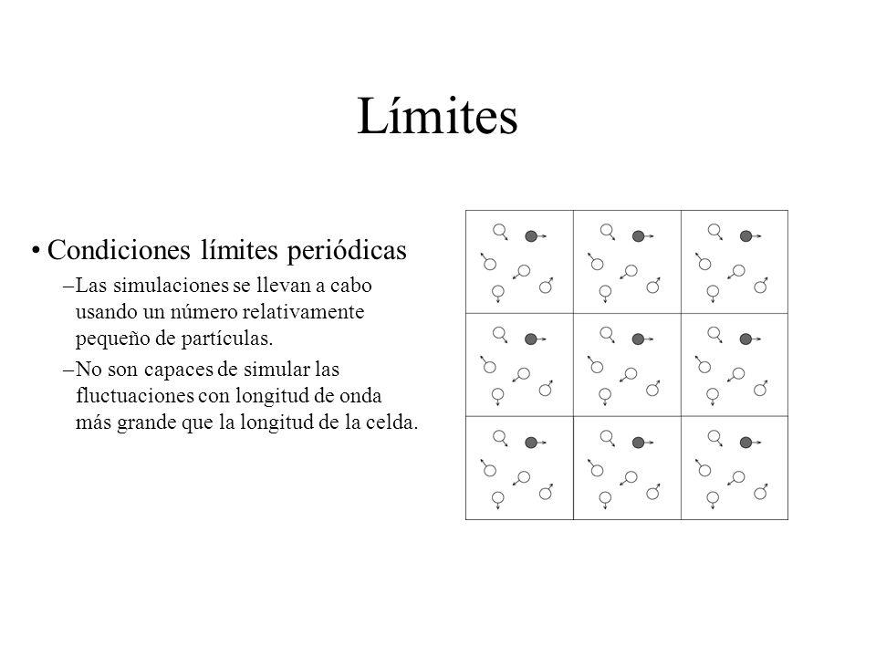 Límites Condiciones límites periódicas –Las simulaciones se llevan a cabo usando un número relativamente pequeño de partículas. –No son capaces de sim