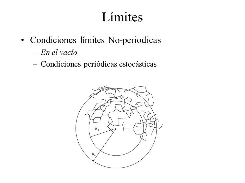 Límites Condiciones límites No-periodicas –En el vacío –Condiciones periódicas estocásticas