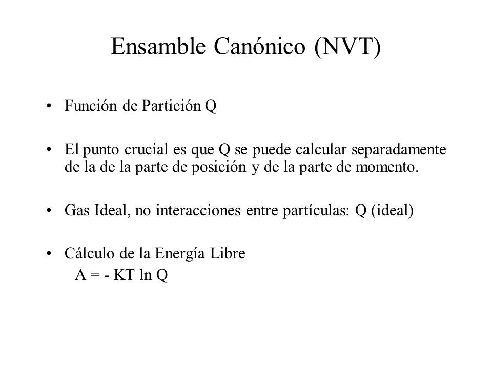 Ensamble Canónico (NVT) Función de Partición Q El punto crucial es que Q se puede calcular separadamente de la de la parte de posición y de la parte d