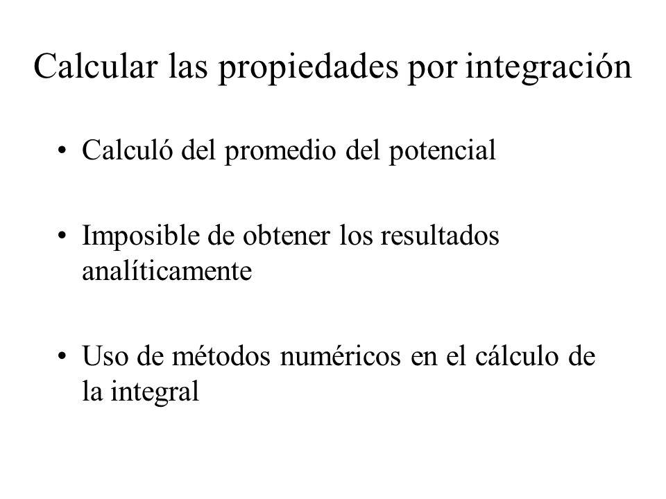 Calcular las propiedades por integración Calculó del promedio del potencial Imposible de obtener los resultados analíticamente Uso de métodos numérico