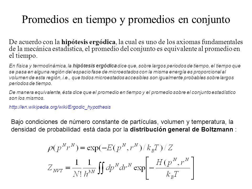 De acuerdo con la hipótesis ergódica, la cual es uno de los axiomas fundamentales de la mecánica estadística, el promedio del conjunto es equivalente